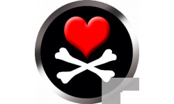 Stickers / autocollants tête mort pirate d'amour