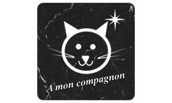 Sticker à mon compagnons chat (marbre noir)