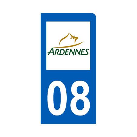 Autocollants : immatriculation motard departement des Ardennes