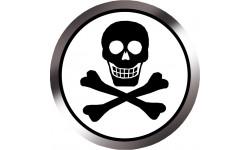 Stickers / autocollants tête mort noir et blanc 3