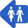 WC, toilette flèche directionnel gauche