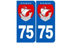 Autocollants : numéro immatriculation 75 Paris