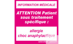 sticker allergie choc anaphylactique