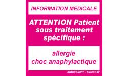Autocollants : sticker allergie choc anaphylactique