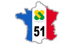 autocollant FRANCE 51 Région Champagne