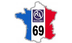 Autocollants : sticker / autocollant FRANCE 69 Région Rhône Alpes
