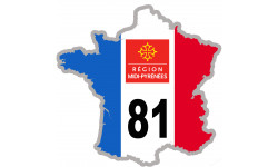 sticker / autocollant FRANCE 81 Midi Pyrénées