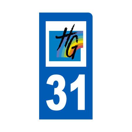 Autocollants : autocollant immatriculation 31 motard Haute-Garonne