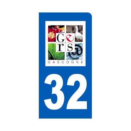 Autocollants : autocollant immatriculation 32 motard du Gers