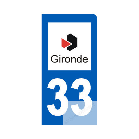 autocollant immatriculation 33 motard de la Gironde