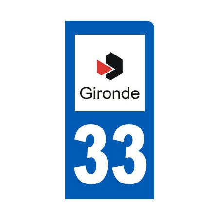 Autocollants : autocollant immatriculation 33 motard de la Gironde