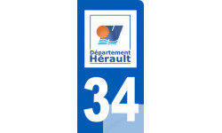 Autocollants : autocollant immatriculation 34 motard de l'Hérault