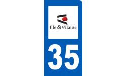 Autocollants : autocollant immatriculation 35 motard d'Ille-et-Vilaine
