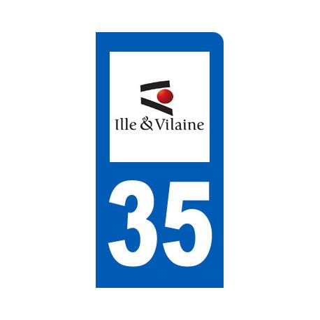 autocollant immatriculation 35 motard d'Ille-et-Vilaine