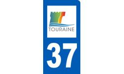 autocollant immatriculation 37 motard d'Indre-et-Loire