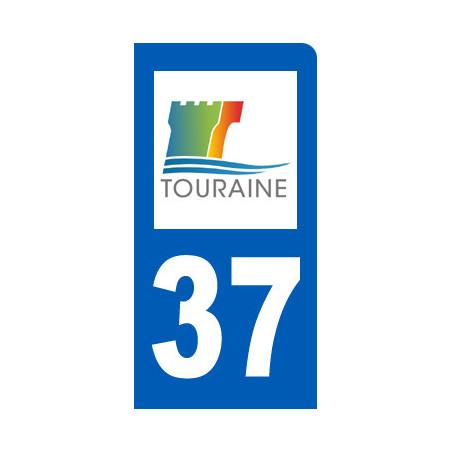 Autocollants : autocollant immatriculation 37 motard d'Indre-et-Loire