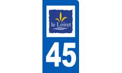 autocollant immatriculation 45 le Loiret