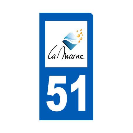 autocollant immatriculation motard 51 de la Marne