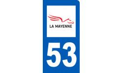 autocollant immatriculation motard 53 de la Mayenne