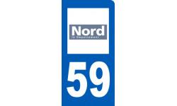 Autocollants : autocollant immatriculation motard 59 du Nord