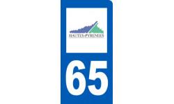 autocollant immatriculation motard 65 des Hautes Pyrénées