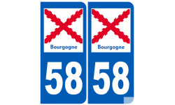 autocollant numéro immatriculation 58 de la Bourgogne