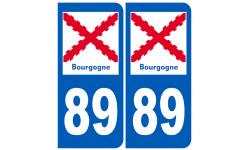 autocollant numéro immatriculation 89 de la Bourgogne