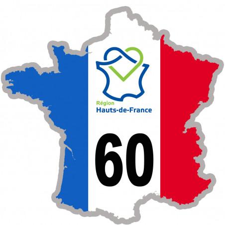 Autocollants : sticker autocollant 60 France région Hauts-de-France