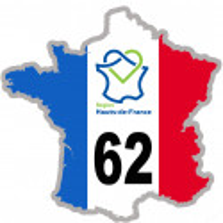 Autocollants : sticker autocollant 62 France région Hauts-de-France