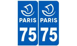 Autocollants : numéro immatriculation 75 Ville de Paris