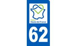 Autocollants : autocollant immatriculation motard 62 région Hauts-de-France