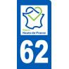 autocollant immatriculation motard 62 région Hauts-de-France