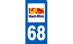 autocollant immatriculation motard 68 du Haut-Rhin