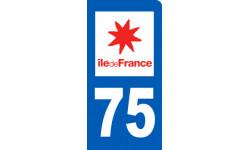 Autocollants : autocollant immatriculation motard 75 Ile de France