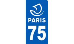 autocollant immatriculation motard 75 Paris