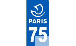 Autocollants : autocollant immatriculation motard 75 Paris