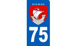 autocollant immatriculation motard 75 Ville de Paris