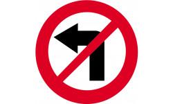 sticker autocollant interdit de tourner à gauche