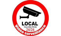 Sticker / autocollant : vidéo surveillance local - 20cm