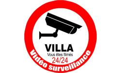 Sticker / autocollant : vidéo sécurité Villa - 10cm