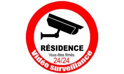 Sticker / autocollant :  vidéo surveillance Résidence - 20cm
