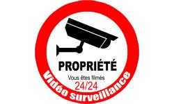 Sticker / autocollant : vidéo surveillance Propriété - 10cm