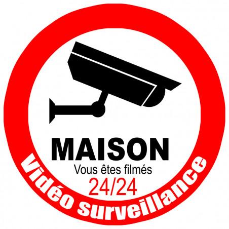 Sticker / autocollant : vidéo surveillance Maison - 10cm