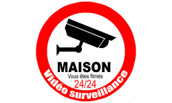 Sticker / autocollant : vidéo surveillance Maison - 15cm