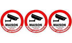 Sticker / autocollant : vidéo surveillance Maison - 3x5cm
