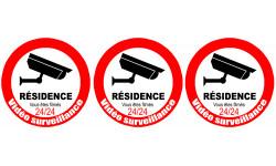 Sticker / autocollant :  vidéo surveillance Résidence - 3x5cm
