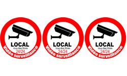 Sticker / autocollant : vidéo surveillance local - 3x5cm