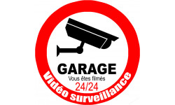 Sticker / autocollant : vidéo surveillance Garage - 15cm