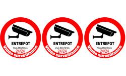 Sticker / autocollant : vidéo surveillance ENTREPOT - 3x5cm