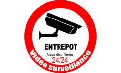 Sticker / autocollant : vidéo surveillance ENTREPOT - 20cm